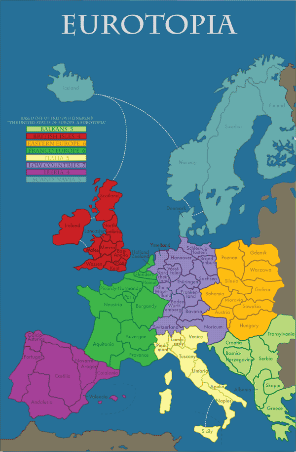 EUROPE Subregions Based On Freddy Heinekens Book The United - Map of us and europe