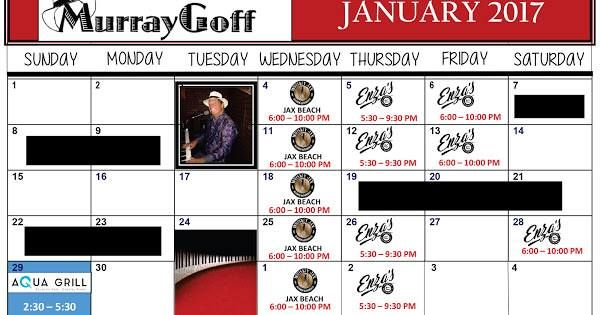 It's January 06 2017 at 11:00AM Plans for tonight? Be sure to catch Great Music with Murray Goff on the Piano this month. #Jacksonville #LiveMusic