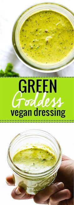 Green Goddess Dressing Recipe (Paleo Friendly) homemade vegan green goddess dressing. This vegan green goddess dressing is TO DIE FOR! Paleo friendly, made with simple healthy ingredients, and pretty much good on EVERYTHING! A staple dressing you will want to make again and again! Especially with potato salad!/cottercrunch/homemade veg...
