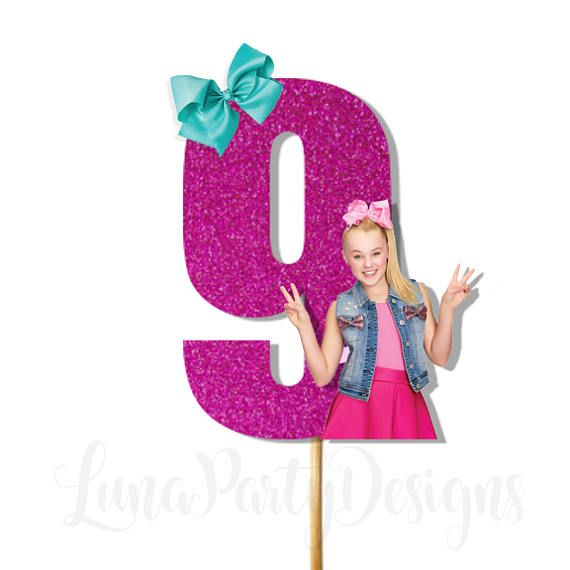 Jojo Siwa Cake Topper Age Is Made With Heavy Glitter Card Stock Bow And On Weight Mounted Wood Dowel Can Customize Colors