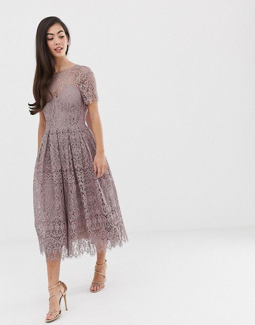 Design Petite Lace Midi Dress With Ribbon Tie And Open Back