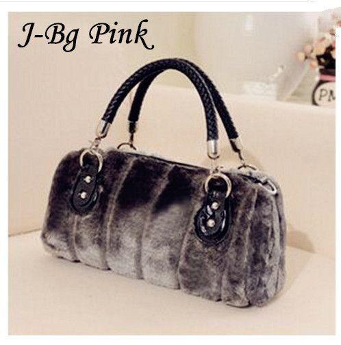 2016 new women's autumn and winter rabbit fur handbags luxury fashion brand J-Bg Pink designer bag Messenger bag banquet