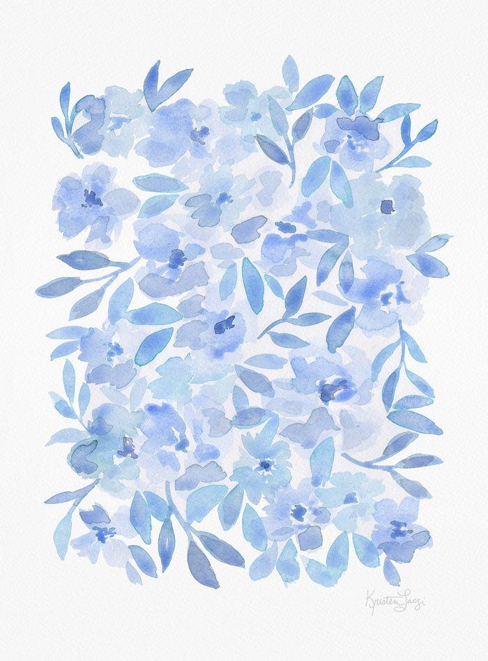 Watercolor Blue Anemones Pattern Art Print Blue Flowers Blue