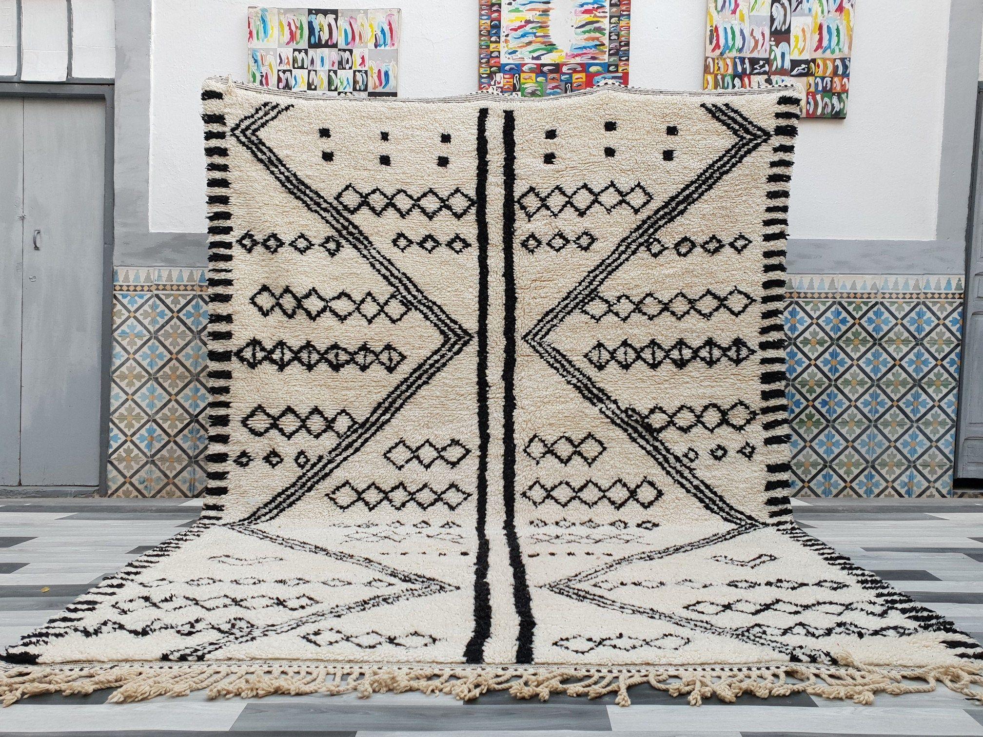 Authentieke Marokkaanse Rug Beni Ourain Deken Handgeweven 100 Wol Tapijt Karpetten Marokkaanse Berber Tapijt Vloer Tapijten Tapis Berbere In 2020 Beni Ourain Rugs Moroccan Rug Carpets Area Rugs
