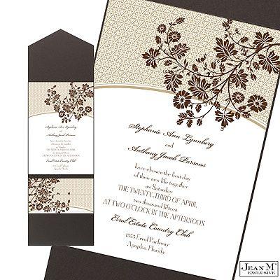Garden Trellis Wedding Invitation with Pocket - Espresso