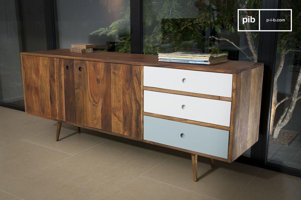 La cassettiera trae la sua ispirazione dall'arredamento in stile Scandinavo degli anni '50 con tre cassetti che contrastano splendidamente con il legno di acacia.