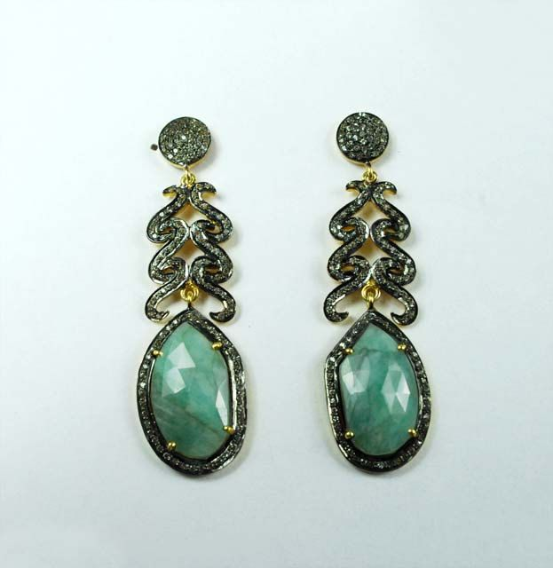 Alluring Emerald Earrings With White Topaz Sf 862 By Silverfantasyinc On Etsy