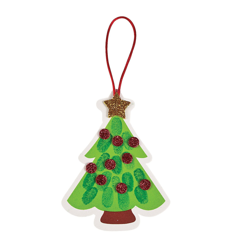 Thumbprint Christmas Tree Ornament Craft Kit Orientaltrading Com Navidad