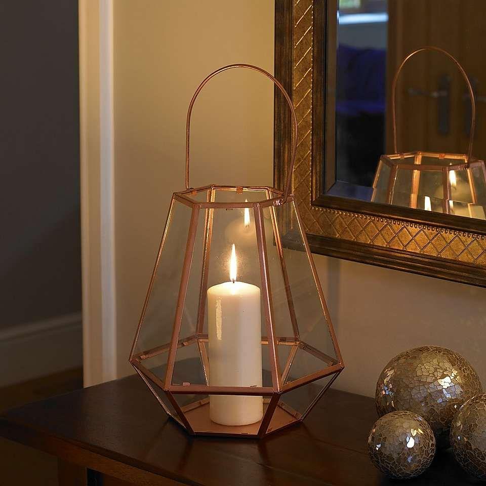 Copper Glass Terrarium Lantern Dunelm Table Decor Copper Glass
