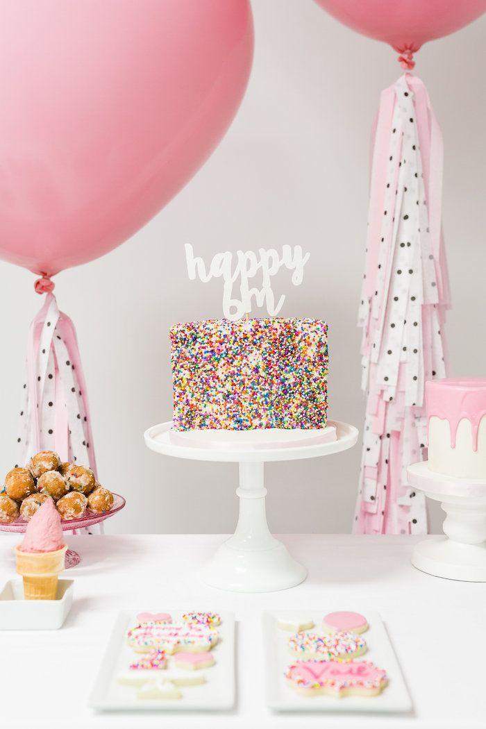 Cake Table From A Little Sprinkles Birthday Party Via Karas Ideas