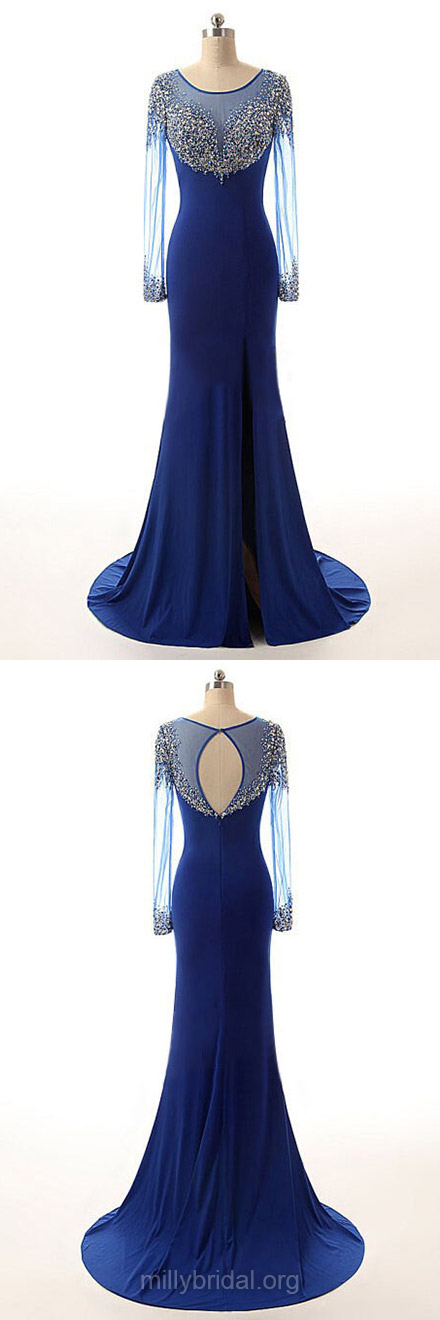 Trumpet/Mermaid Scoop Neck Royal Blue Chiffon Tulle Sweep Train Beading  Long Sleeve Prom Dresses