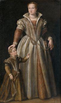 Scuola di Paolo Veronese  Ritratto di gentildonna con la figlia  olio su tela originale  193x118 cm.