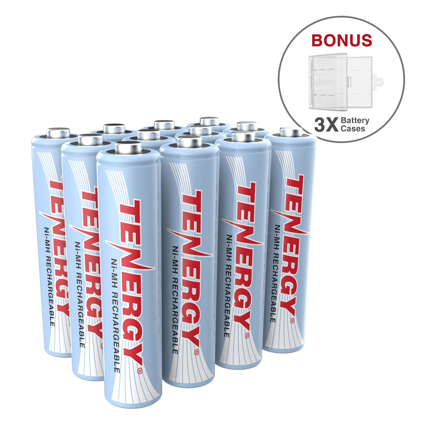 12 Pcs Tenergy Aaa 1000mah Nimh Rechargeable Batteries 3 Aaa Size Holders Rechargeable Batteries Nimh Batteries