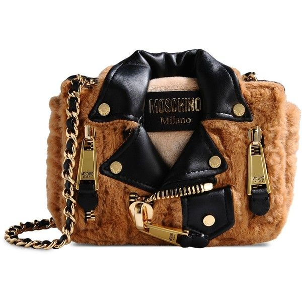 Moschino Small Fabric Bag (£448) ❤ liked on Polyvore featuring bags, camel, mini bags, messenger bags, logo messenger bag, pattern bag and metallic bag