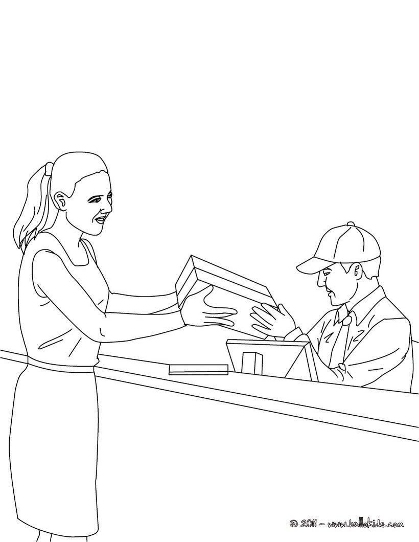 Postman In The Parcel Post Office Coloring Page Amazing Way For