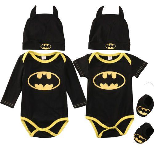 a901c9d5ec20 Batman-Newborn-Baby-Boys-Infant-Romper-Shoes-Hat-3Pcs-Outfit-Clothes ...