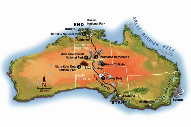 Where Is The Outback In Australia On A Map.Australian Outback Australia Adventure Travel Map National