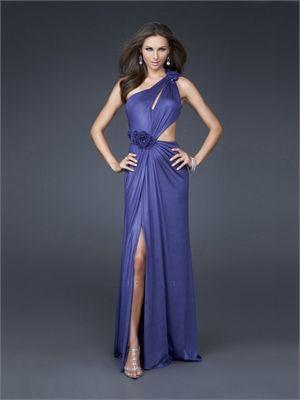 Column Floral One-shoulder Side Slit Lowback Tanzanite Prom Dress PD1608 www.simpledresses.co.uk £109.0000