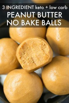 Easy 3 Ingredient Peanut Butter No Bake Balls are a ketogenic dessert ready in 5 minutes A fool proof quick recipe LOADED with peanut butter and kidapproved and completel...