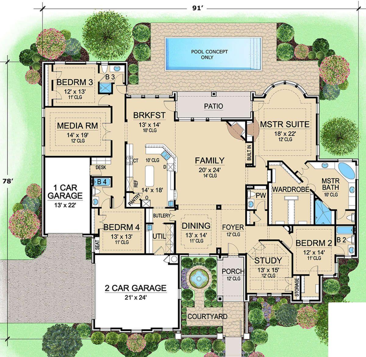 House Plan 5445 00323 European Plan 4 045 Square Feet 4 Bedrooms 4 5 Bathrooms House Floor Plans House Layouts House Plans