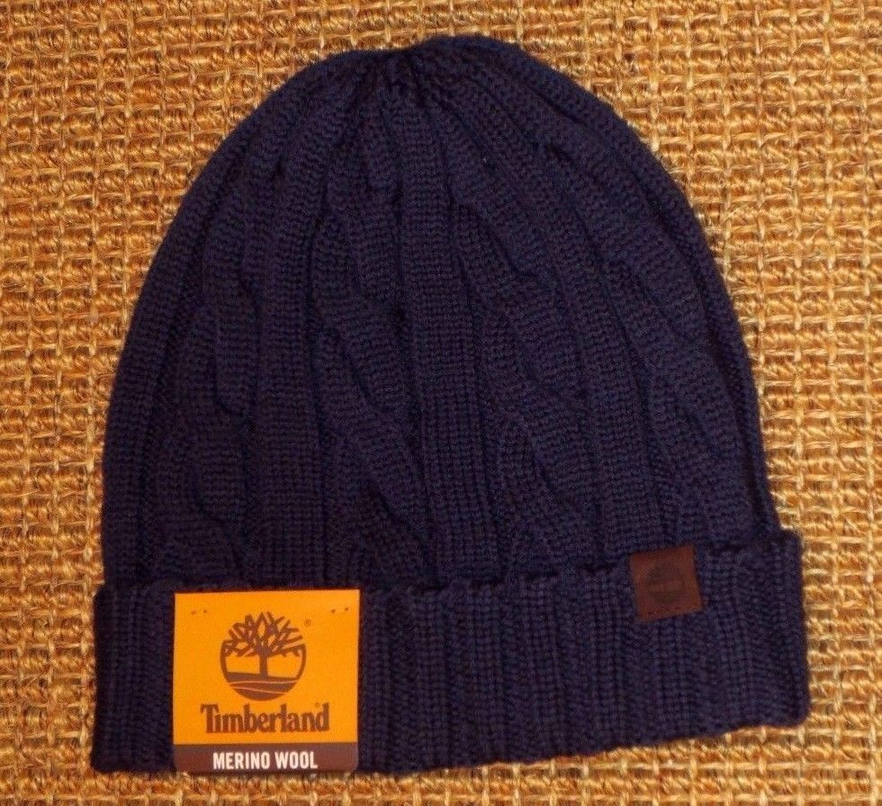 5123f9cb2 Timberland beanie hat men's knit winter skull cap merino wool navy ...