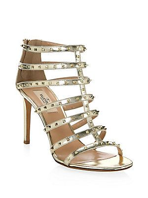 4902bd08e5b1 VALENTINO GARAVANI Lovestud Metallic Leather Gladiator Sandals ...