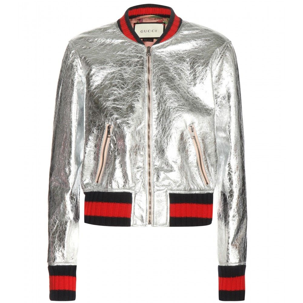5f942ab2d Gucci - Metallic leather bomber jacket - Make a bold statement with ...