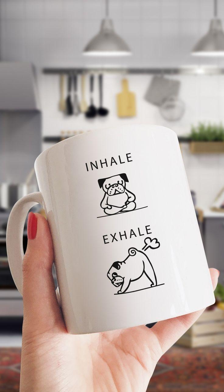 Inhale Exhale Farting Bulldog Funny Coffee Mug