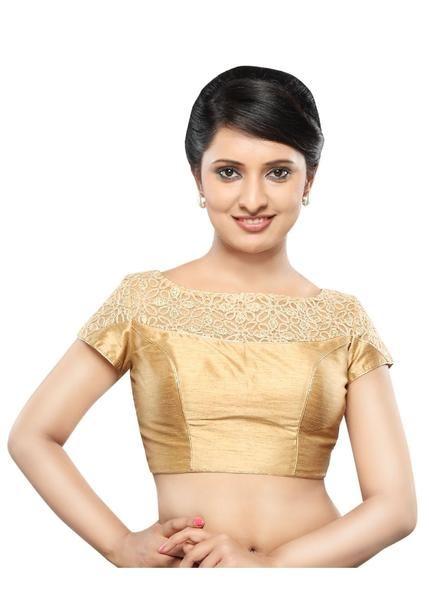 4a7c4f5cc13ac Designer Gold Dupion Silk Back Open Ready-made Saree Blouse Choli SNT  X-321-SL