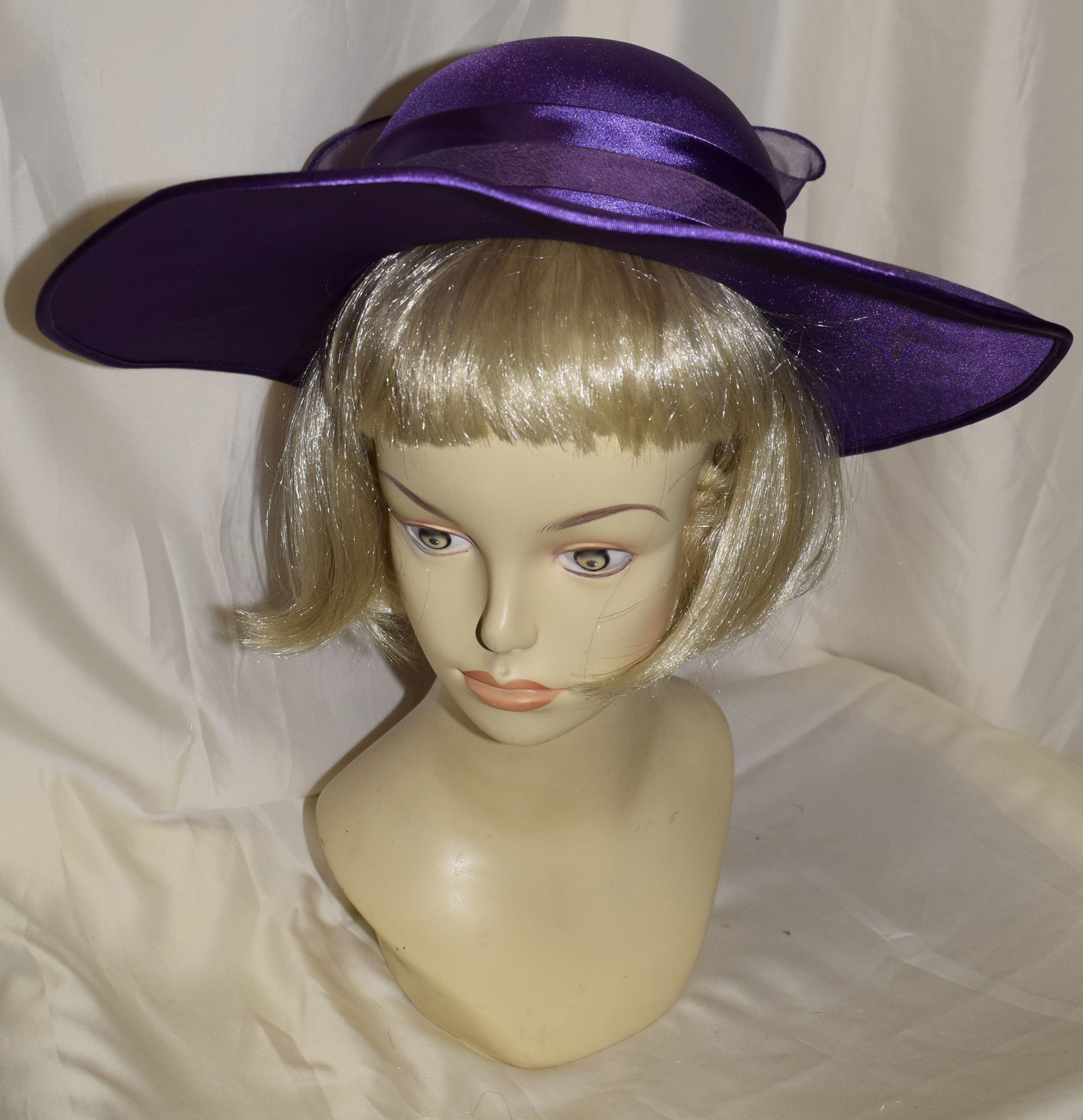 83649e078e4 Vintage Royal Purple Wide Brim Fancy Summer Hat Fancy Hats