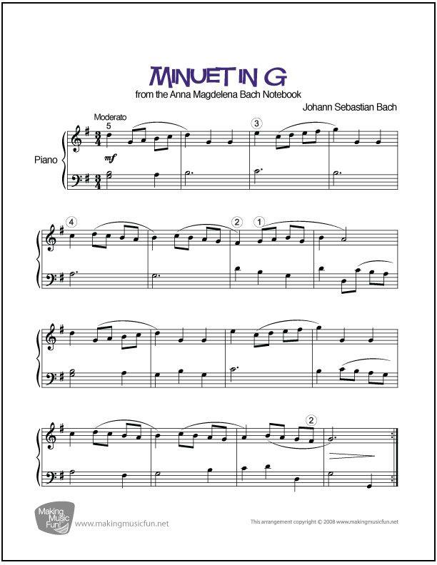 Minuet in G Major (Bach/Petzold) | Sheet Music Piano (Digital Print ...