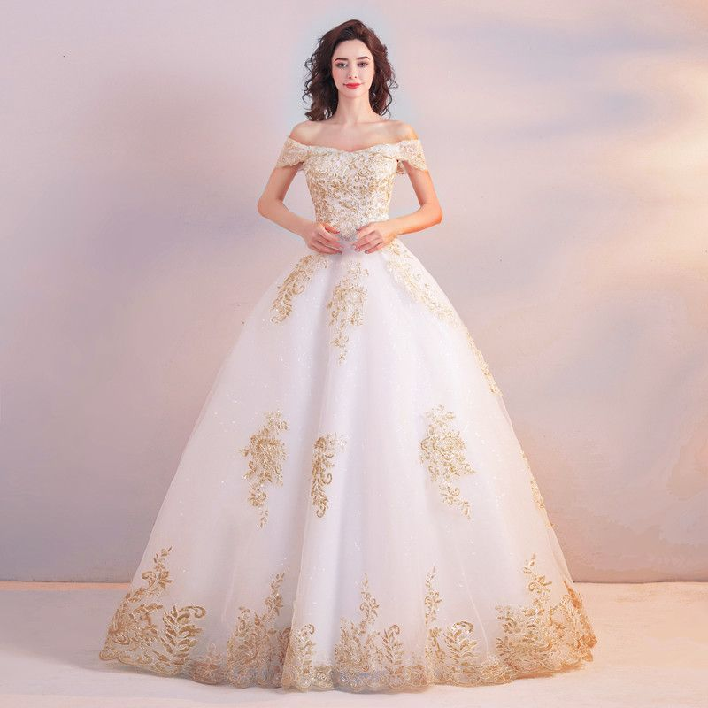 White And Gold Wedding Dress Princess Lace Bridal Dress Lace Princess Wedding Dresses Bridal Dresses Lace Gold Wedding Gowns