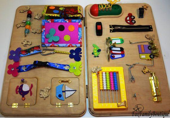 busy board for toddler activity board wooden busy toys aktivit ten f r kleine kinder. Black Bedroom Furniture Sets. Home Design Ideas