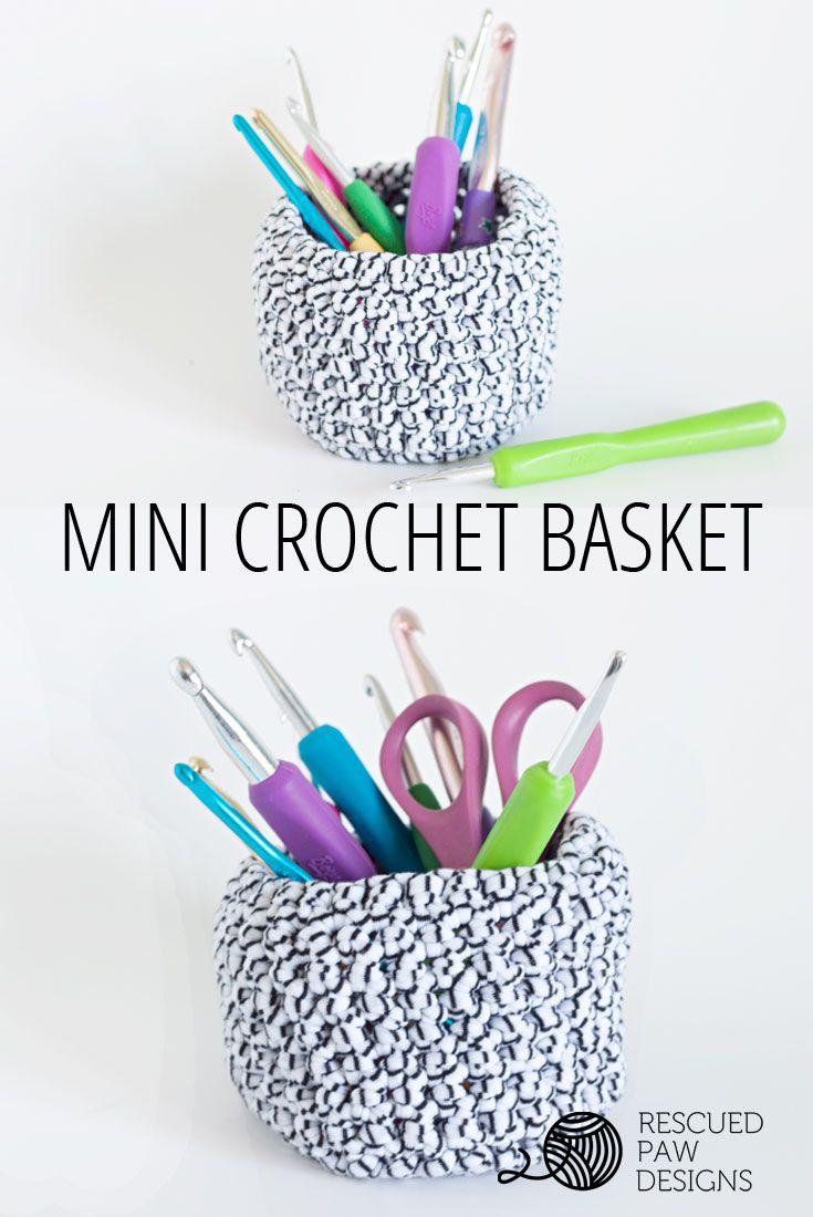 Mini Basket Crochet Pattern   Proyectos de ganchillo, Ganchillo y Bolsos