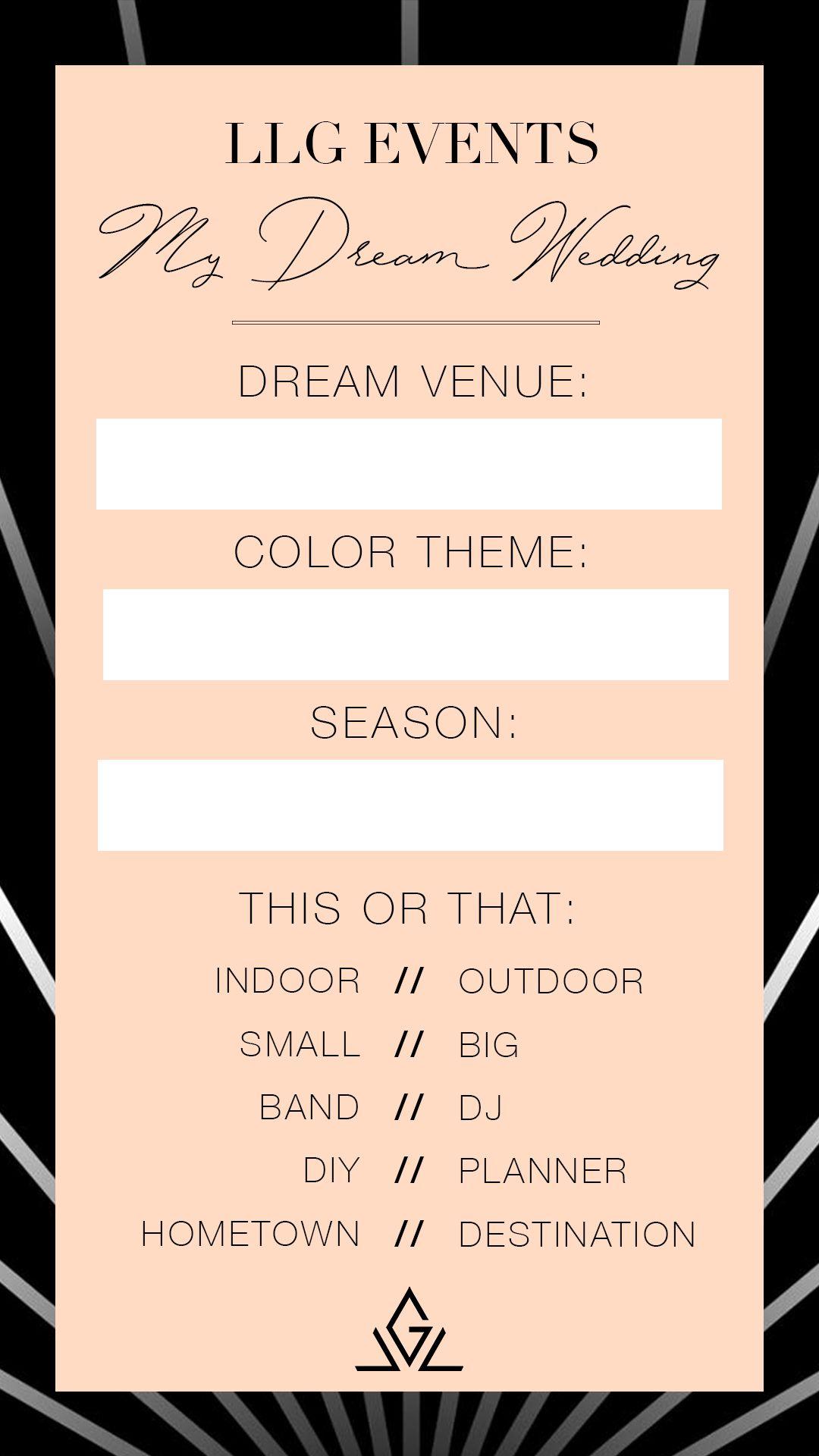 Instagram Story Dream Wedding Quiz Template By Llg Events In 2020 Wedding Quiz Luxury Wedding Planning Dream Wedding