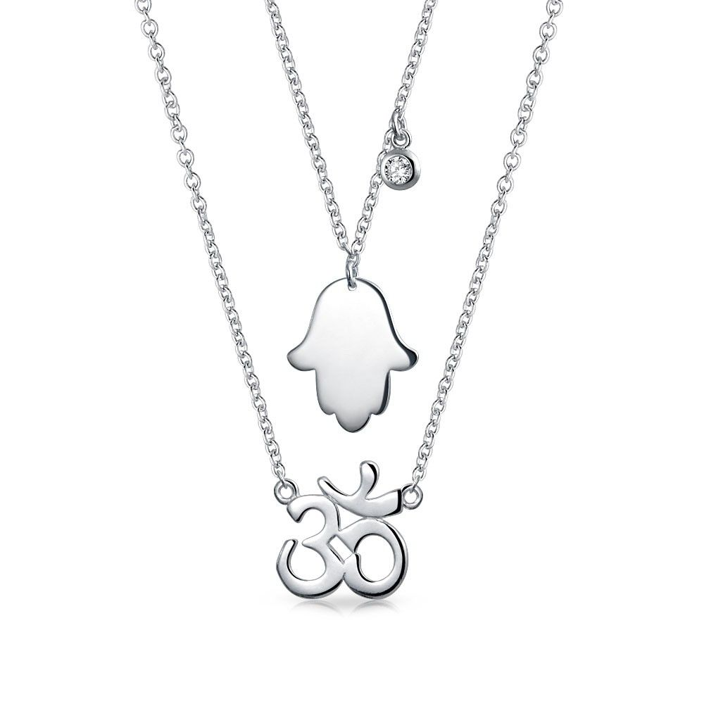 Sterling Silver Hand Of Hamsa Charm Necklace Boho Dainty Layering Jewellery 925