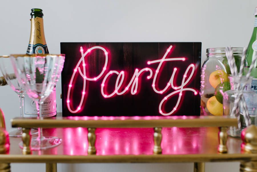 Light up the room with your very own 'Party' sign!An ideal addition to your party, wedding, or simply to decorate your home. This eye catching sign will brighten up the room adding a trendy touch to any occasion. Party illumination sign with 40 LED lights.For decorative purposes. Requires 3 AA batteries and customer needs to gently push lights through pre-cut holes provided.Cardboard and LED lights. (Please note that you will need to assemple the light yourself)40cm x 21cm x 5cm