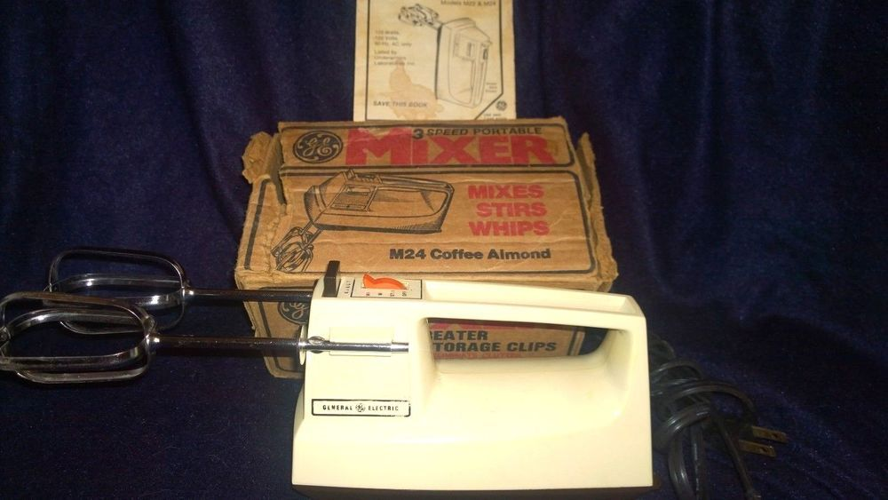Vintage GE Portable Mixer Model M24 Coffee Almond Good Working Condition