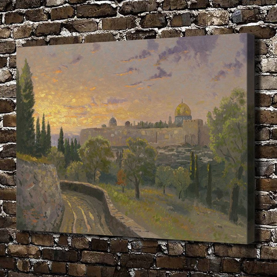 H1296 Thomas Kinkade Jerusalem Sunset Scenery, HD Canvas Print Home  Decoration Living Room Bedroom Wall