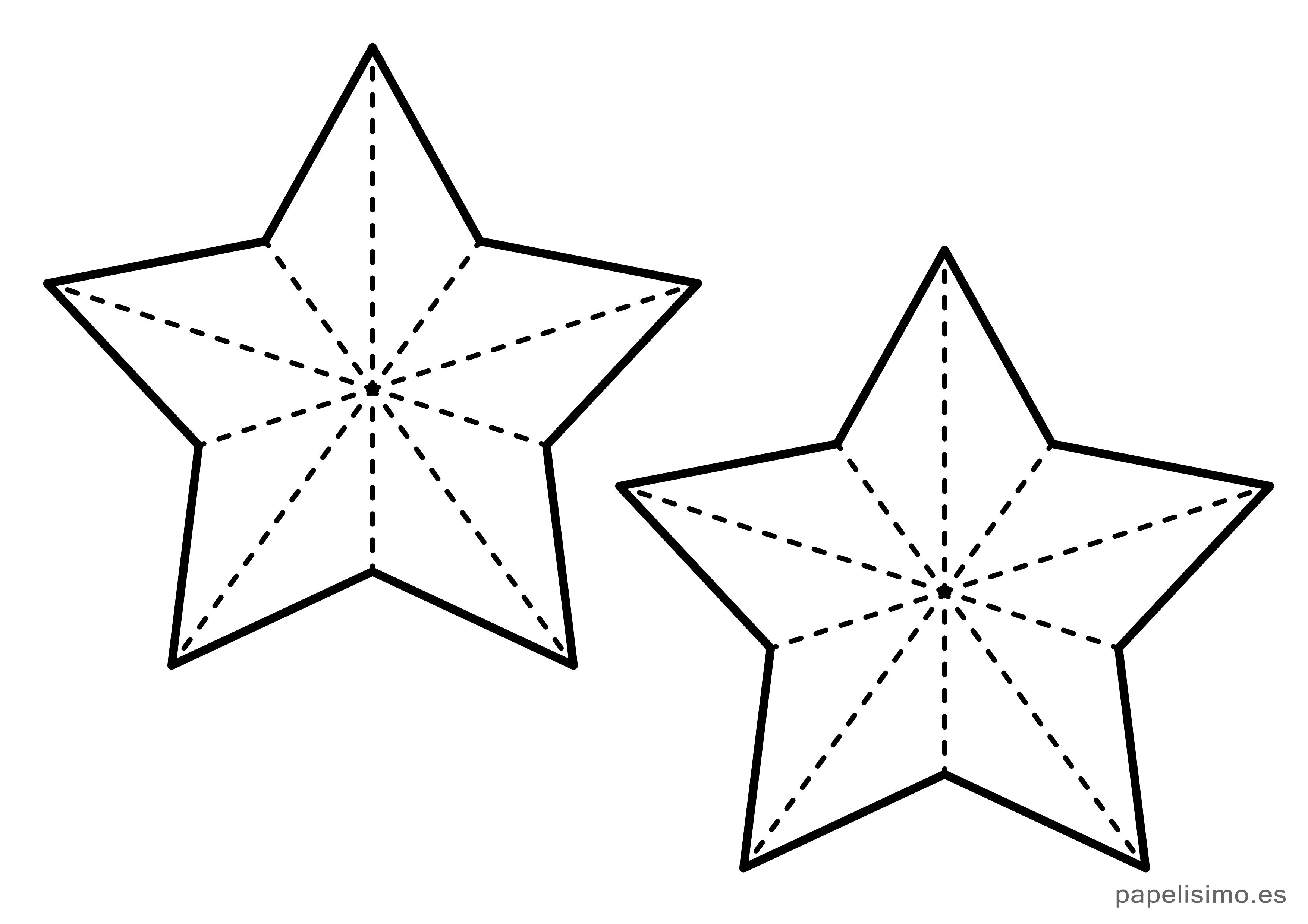 Plantilla Estrellas Cinco Puntas Navidad Mediana Arte En Papel