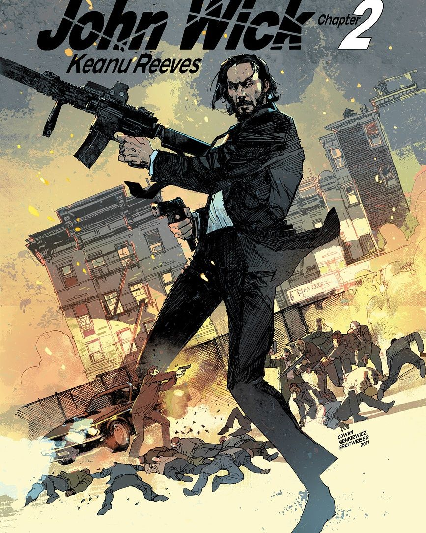 Original Movie poster  Illustration for  John Wick Chapter 2 !     drawn by me  Inks Bill Sienkiewicz   colors Elizabeth Breitweiser  #johnwick2#new release#john wick #bill Sienkiewicz#elizabeth breitweiser