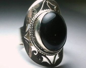 21934 Onyx 925 Sterling silver ring Fine jewelry rings Fine jewelry Onyx ring sterling silver ring size 8