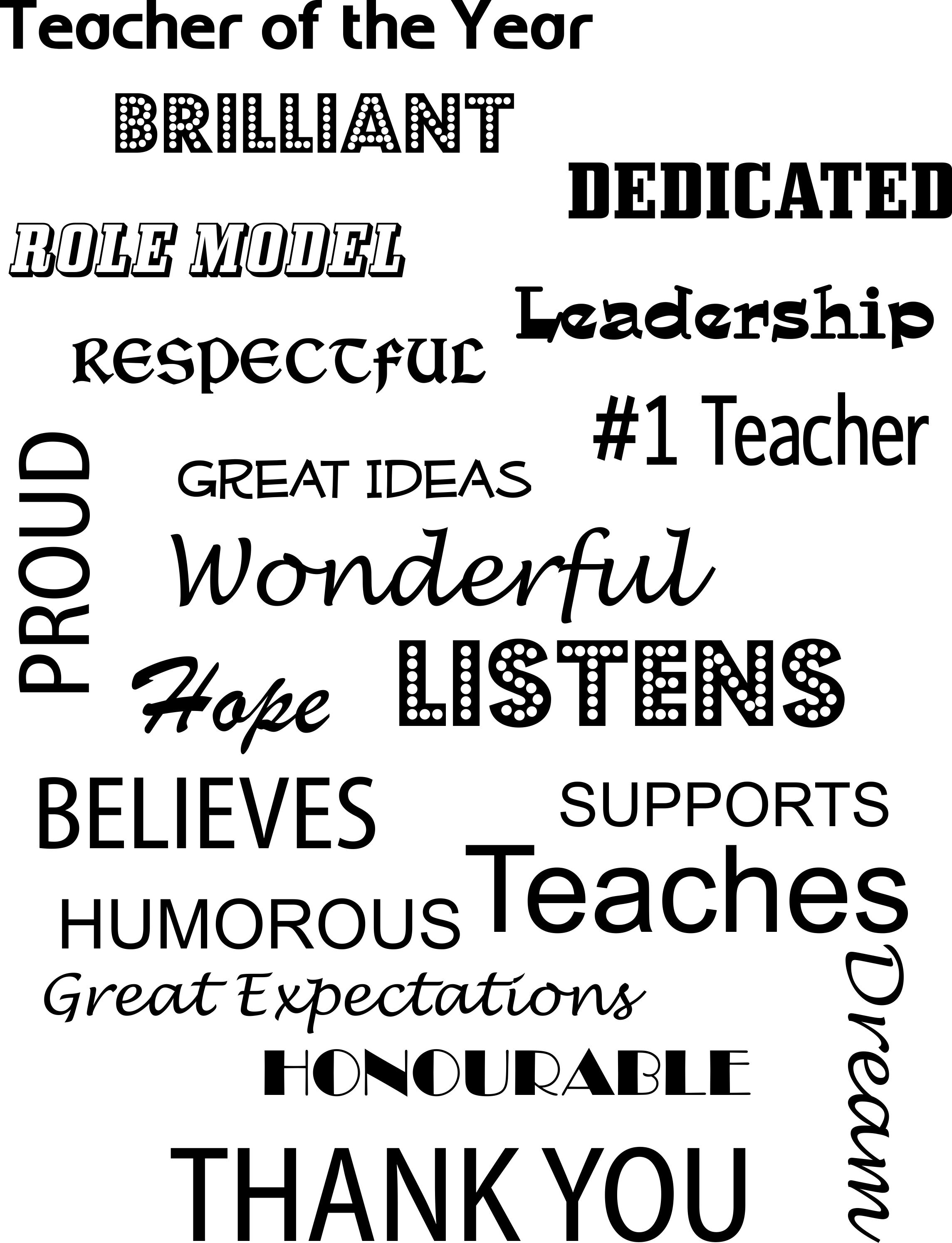 #Teacher of the Year Message to place in a Frame for your