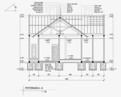 Contoh Gambar Potongan Rumah Minimalis Menggunakan Autocad Rumah Minimalis Rumah Sketsa Desain Interior