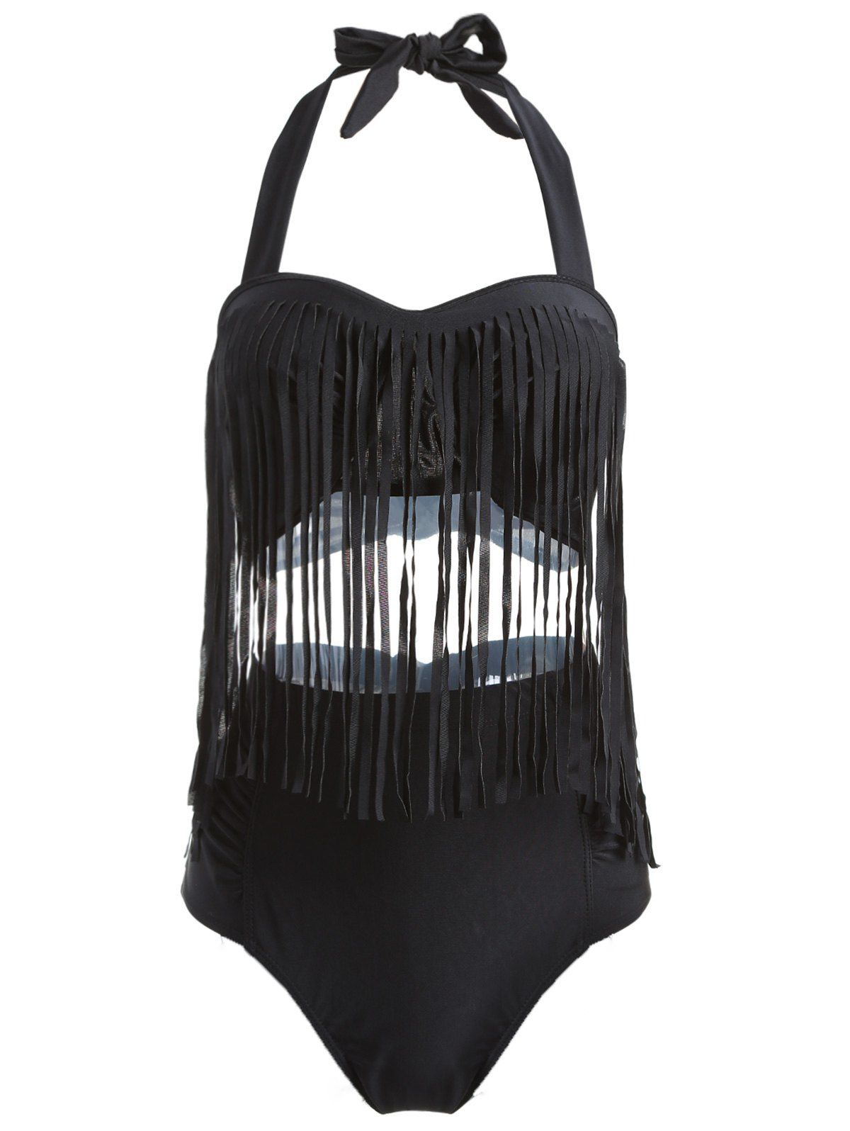 Alluring Solid Color High-Waisted Fringe Design Plus Size Bikini Set For Women