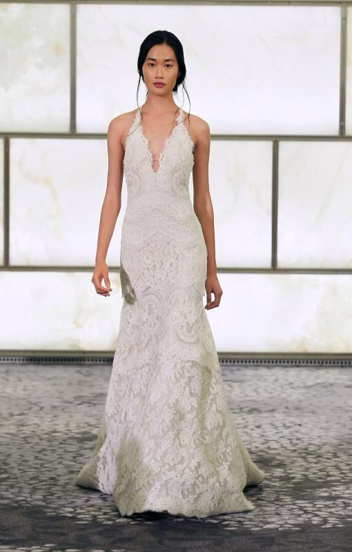 RIVINI Sophi - Tiered French Alencon Lace Fit to Flare with Halter ...