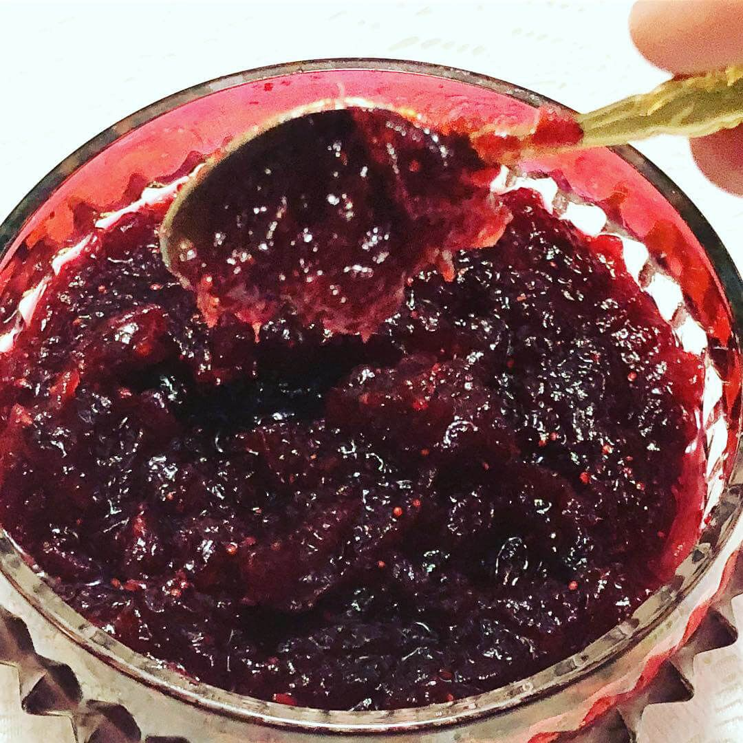 Cranberry Sauce with maple syrup, orange juice and orange zest. – cranberry sauce