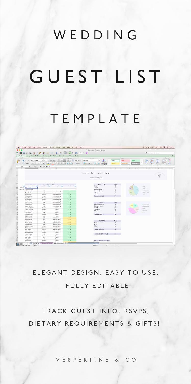 Wedding Guest List Planner and Guest List Tracker! Excel Spreadsheet ...