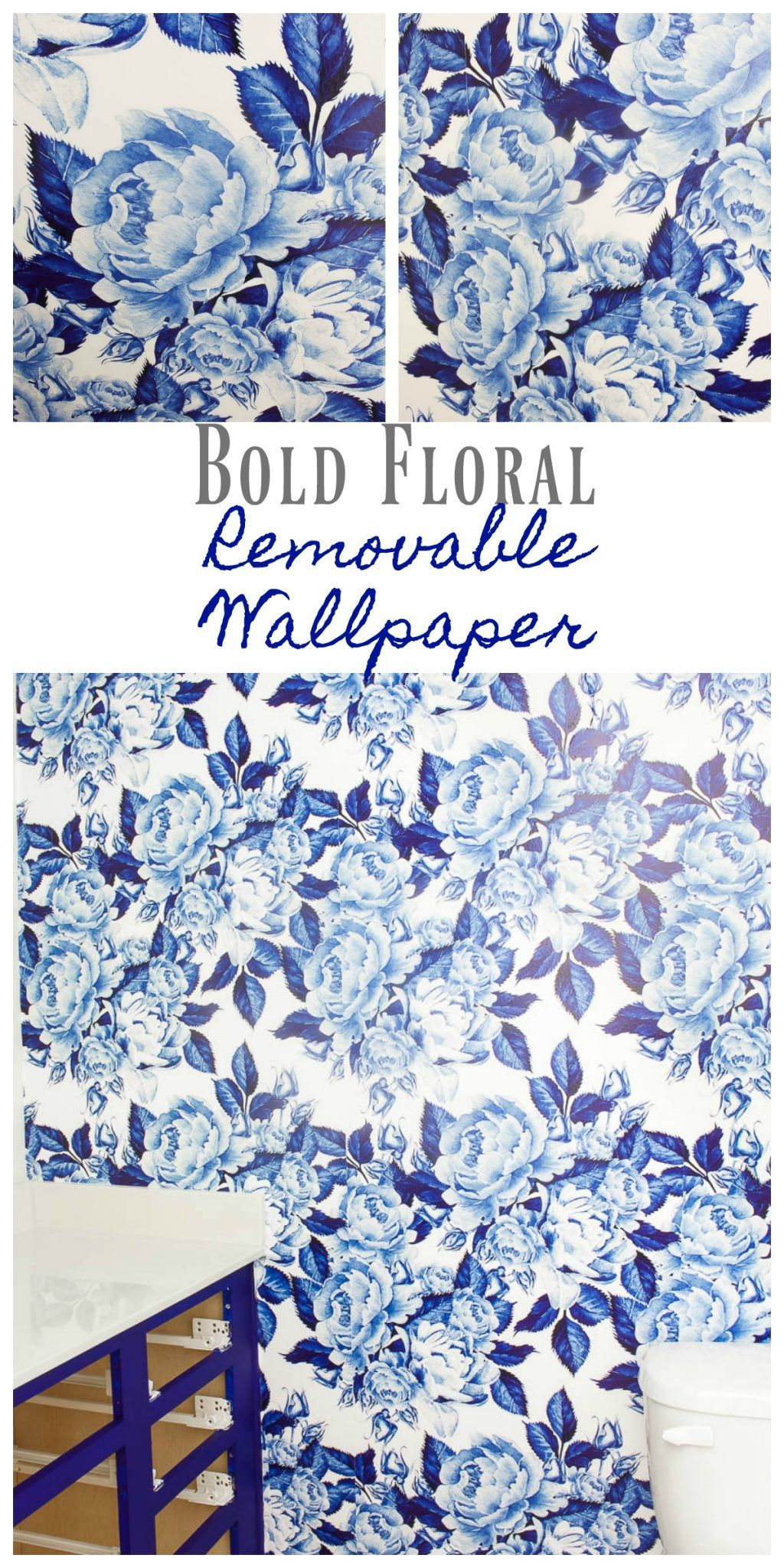 Bold Floral Blue and White Removable Wallpaper e Room Challenge