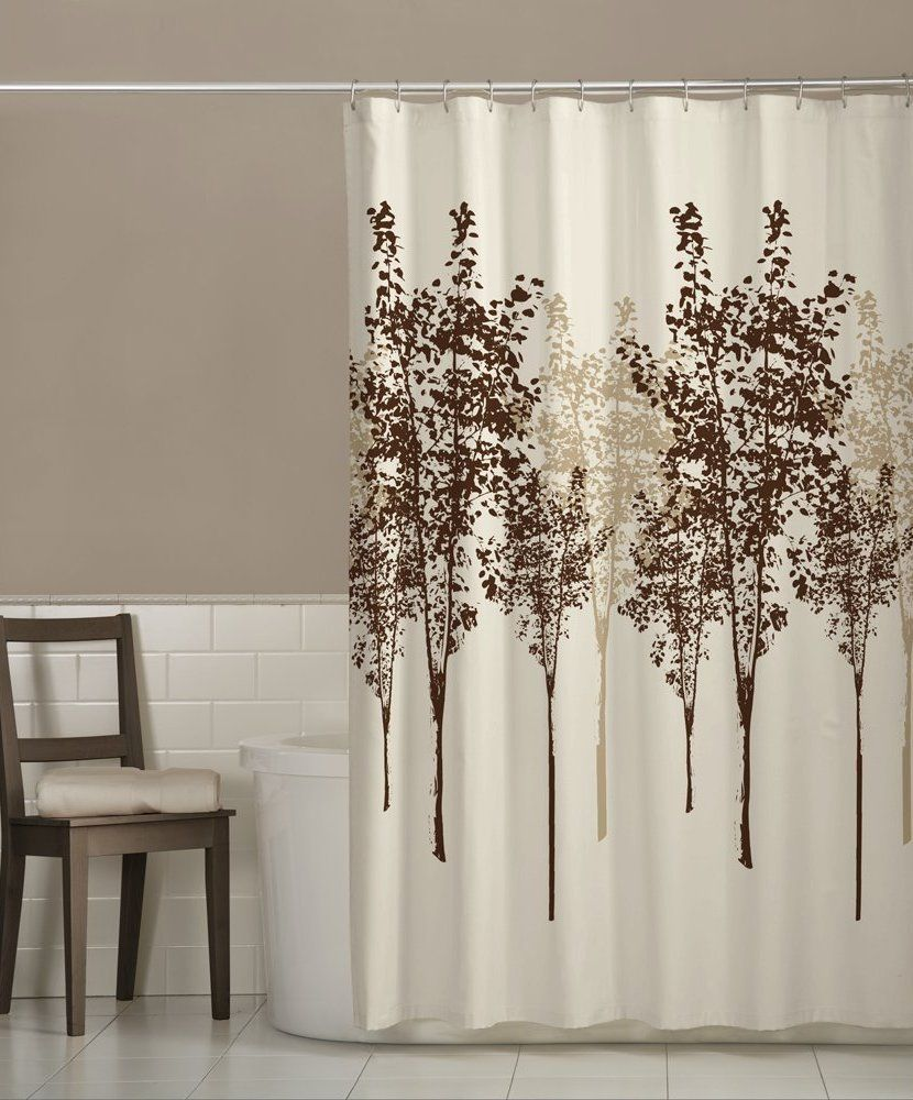 Straight Stainless Seel Shower Curtain Rod With Brown Trees Tile Beside White Bathtub Mixed Wooden Chair And Brick